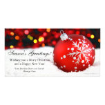 Red Sparkle Flat Business Christmas Greeting Card Personalized Photo Card