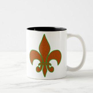 Red Sparkle Fleur de Lis Two-Tone Mug