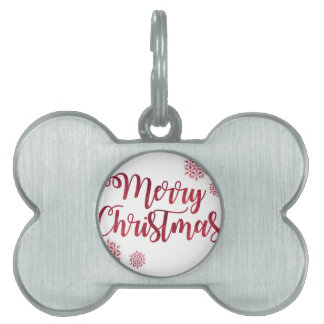 Red Sparkle Glitter Merry Christmas Pet Name Tag