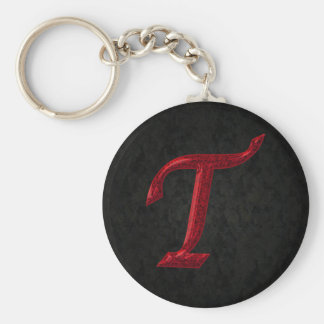 Red Sparkle Monogram T Basic Round Button Key Ring