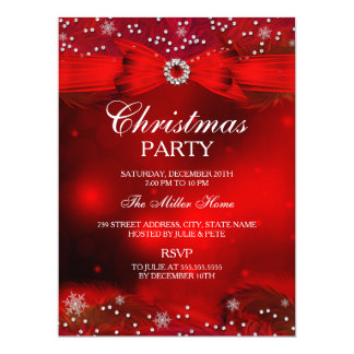 """Red Sparkle Snowflake & Bow Christmas Party Invite 6.5"""" X 8.75"""" Invitation Card"""