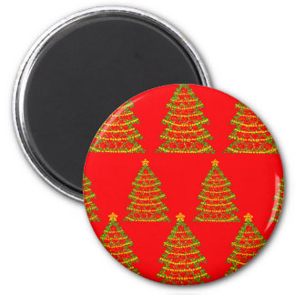 Red sparkling Christmas trees 6 Cm Round Magnet