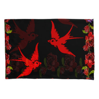 red sparrows with rose border pillowcase