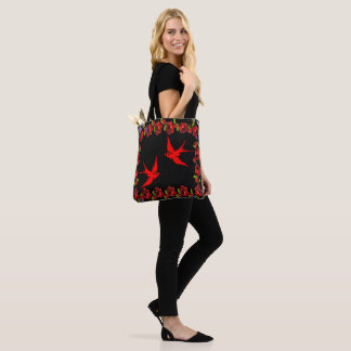 red sparrows with rose border tote bag