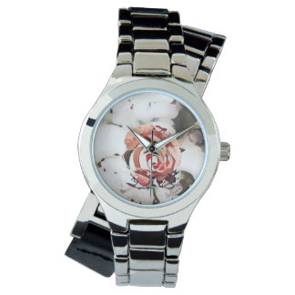 Red Spattered Rose Women's Watch