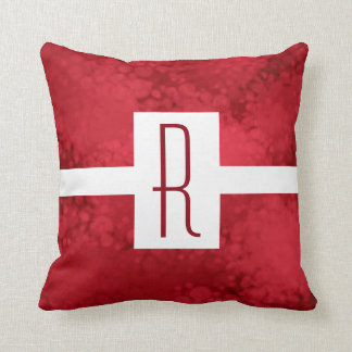 Red Speckled Monogram Cushion