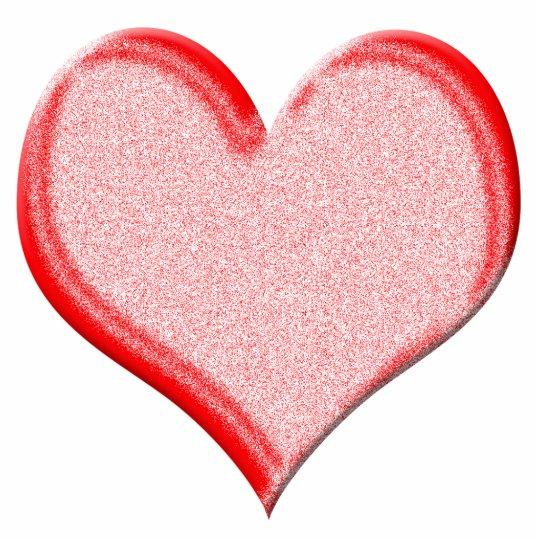 Red Speckled Valentine Heart Shape Photo Sculpture Badge