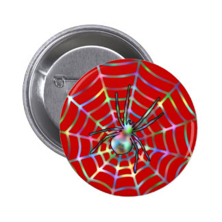 Red Spider and Spider Web Halloween 6 Cm Round Badge