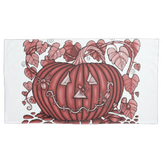 Red Spidery Pumpkin Pillowcase
