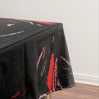 Red splashes, abstract art, paint on black fabric tablecloth