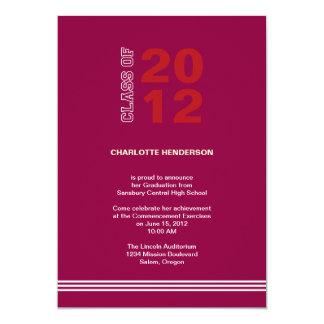 "Red sport stripe graduation class invitation 5"" x 7"" invitation card"