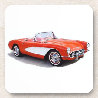 Red Sports Car Cork Coasters Drink Coasters