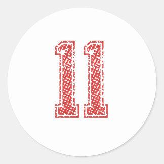 Red Sports Jerzee Number 11 Classic Round Sticker
