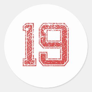 Red Sports Jerzee Number 19 Classic Round Sticker