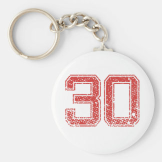 Red Sports Jerzee Number 30 Key Chains