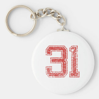 Red Sports Jerzee Number 31 Key Chains