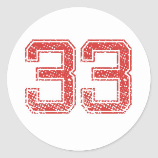 Red Sports Jerzee Number 33 Classic Round Sticker