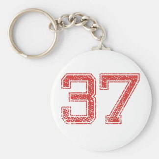 Red Sports Jerzee Number 37 Key Chain