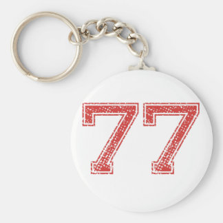 Red Sports Jerzee Number 77 Key Ring