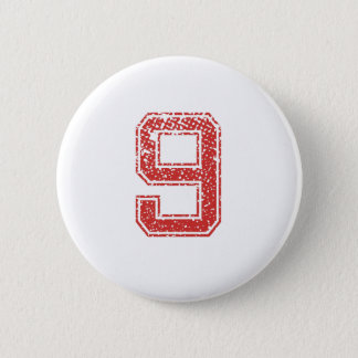 Red Sports Jerzee Number 9 6 Cm Round Badge