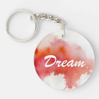 Red spot, watercolor abstract hand painted Double-Sided round acrylic key ring