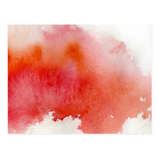 Red spot, watercolor abstract hand painted postcard