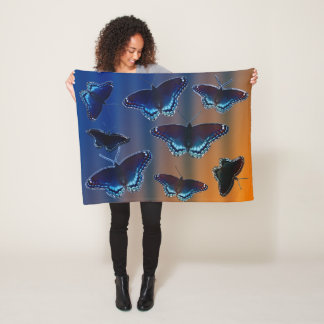 Red Spotted Purple Butterflies Fleece Blanket