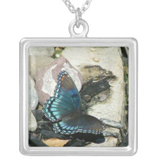Red-Spotted Purple Butterfly Square Pendant Necklace