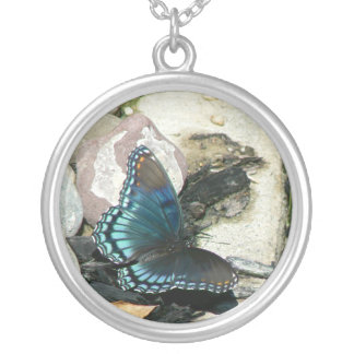 Red-Spotted Purple Butterfly Round Pendant Necklace