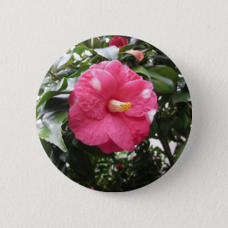 Red spotted white flower of Camellia Marmorata 6 Cm Round Badge