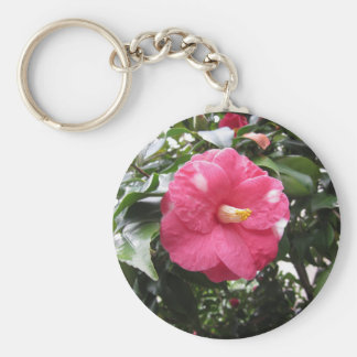 Red spotted white flower of Camellia Marmorata Key Ring