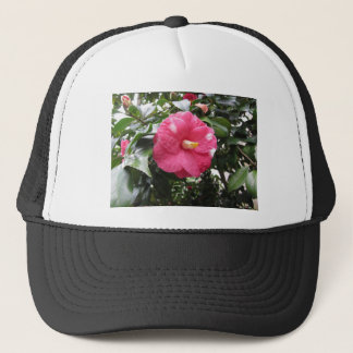 Red spotted white flower of Camellia Marmorata Trucker Hat