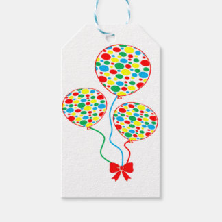 Red, spotty, gender neutral balloon design gift tags