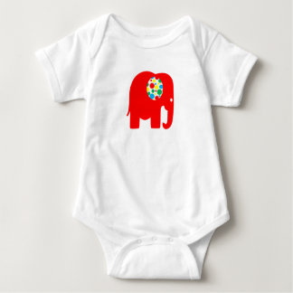 Red, spotty, gender neutral elephant bodysuit