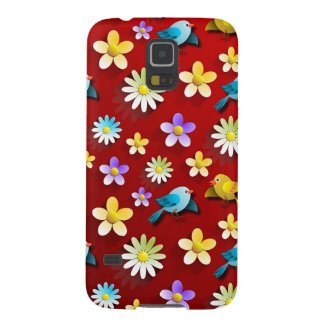 Red Spring Birds and Flowers Galaxy S5 Covers