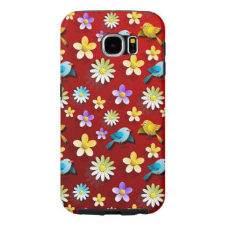 Red Spring Birds and Flowers Samsung Galaxy S6 Cases