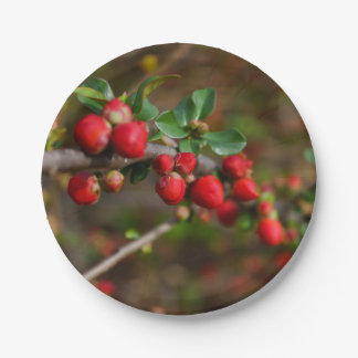 Red Spring Buds Paper Plate