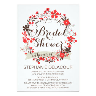 """Red Spring Floral Wreath Bridal Shower Invitations 5"""" X 7"""" Invitation Card"""