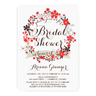 Red Spring Floral Wreath Bridal Shower Invitations