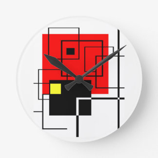 Red Square A La Mondrian Round Clock