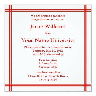 Red Square Graduation Invitation or Announcement