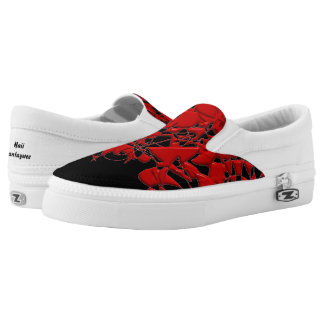 Red Squiggles on Black. Slip On Shoes