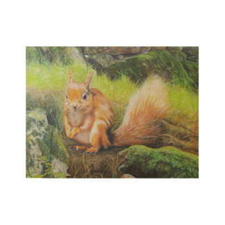 Red Squirrel art. Wood Poster