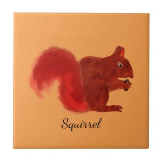 Red Squirrel Cute Woodland Animal Ceramic Tile