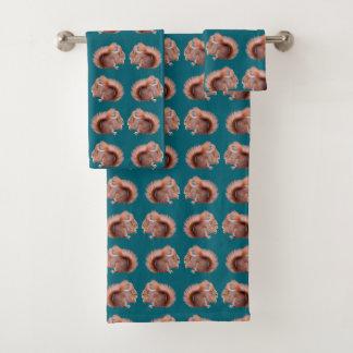 Red Squirrel Frenzy Bathroom Towel Set