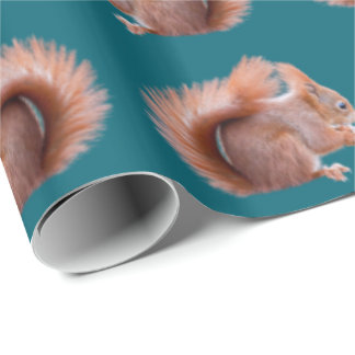 Red Squirrel Frenzy Wrapping Paper