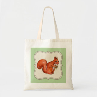 red squirrel holding acorn tote bag, light green