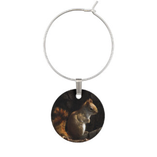 Red Squirrel in a Patch of Sun Wine Charm