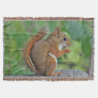 Red squirrel on a rock wall throw blanket
