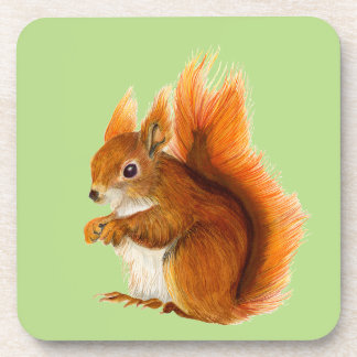 Red Squirrel Painted in Watercolor Wildlife Art Coaster